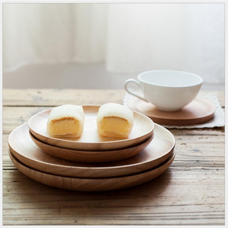 1PCS Rubber wood snack dish Japanese wooden dishes wooden snacks fruit plate solid wood hotel tableware wholesale dropshipping in Dishes Plates from Home Garden