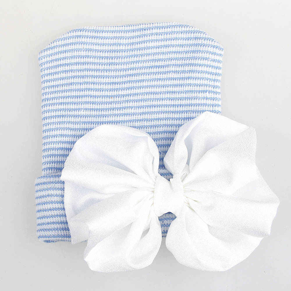 2018 nuevo bebé recién nacido niñas niños sombreros cómodos Bowknot sólido de punto caliente gorro Hospital sombrero conjunto 0 -6 M 3 colores