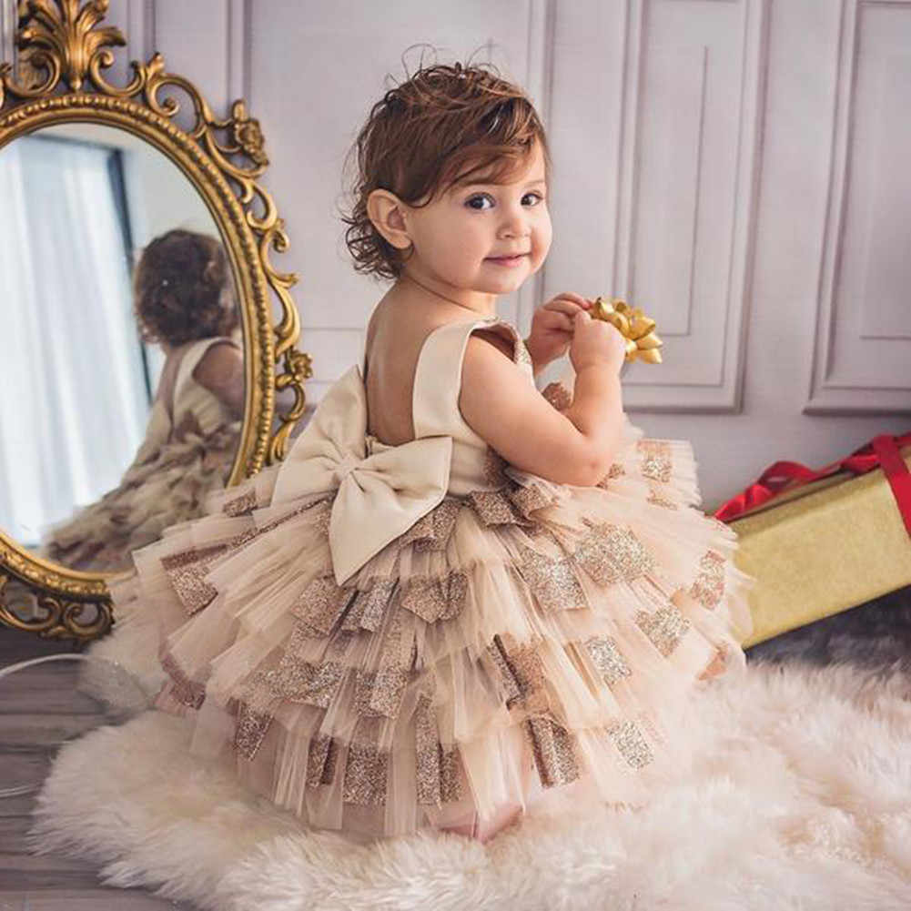 Formal Kids Baby Girl Princess Dress Sleeveless Back Bow Backless Birthday Wedding Party Dress Ruffles Layered Dress 12M-5Y