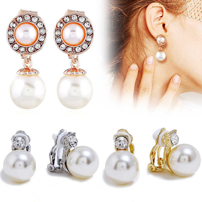 1Pair Without Piercing No Hole Ear Clip Party Golden Gift Women Beautiful Seaside Hot Silver Fashion Jewelry Gold Earrings