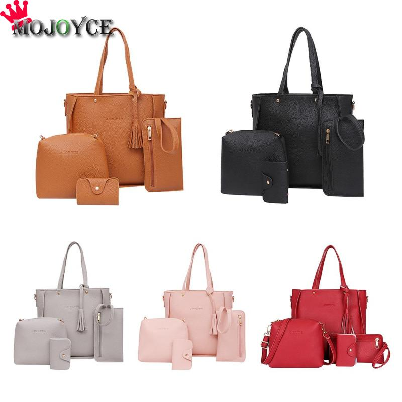 4pcs/set Litchi Leather Tassel Women Solid Color Crossbody Tote Shoulder Messenger Handbags Clutch Card Holder Bags4pcs/set Litchi Leather Tassel Women Solid Color Crossbody Tote Shoulder Messenger Handbags Clutch Card Holder Bags