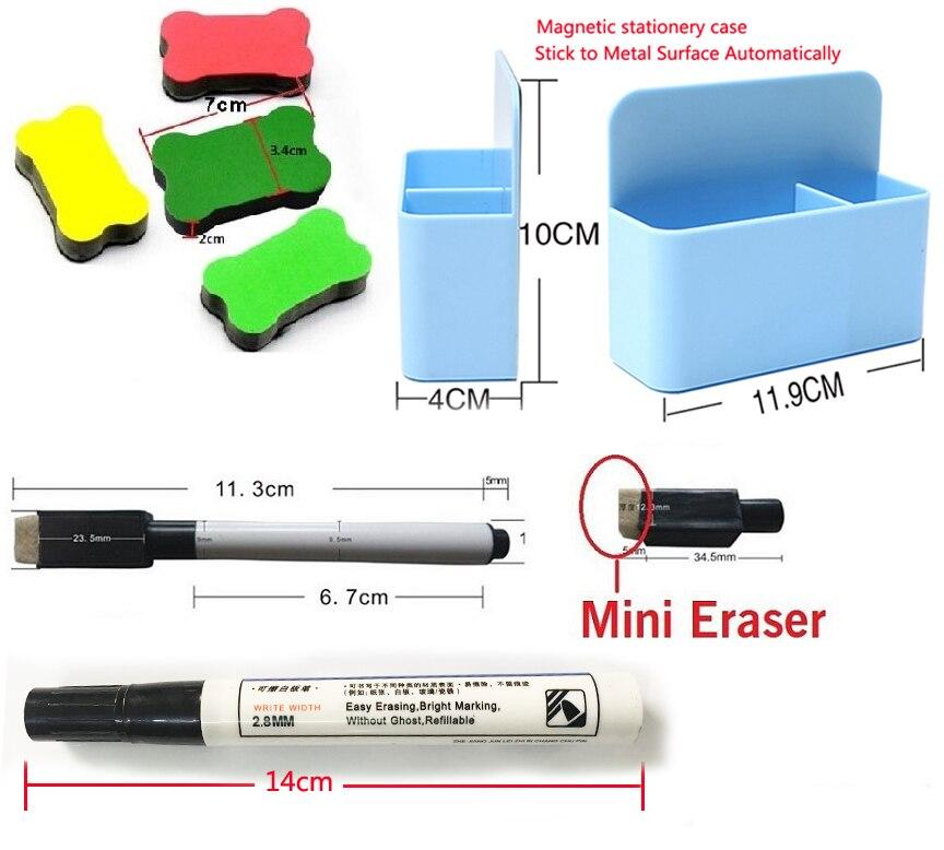 A1 tableau blanc magnétique et boîte de rangement magnétique papeterie 1 gomme 4 couleurs aquarelle stylo 3 marqueur magnétique mémo planches - 6