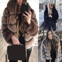 2018 Winter Women Plus Size Coats Hooded Thick Warm Faux Fur Coat Nine Quarter Fashion Long Sleeve Slim Coat Outwear