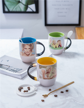 11oz two tone color Personalized Magic Mug, Custom Photo Color Changing Mug with spoon  10pieces for 1 box