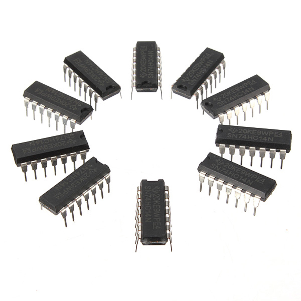 LEORY 10Pcs SN74HC14N 74HC14 IC Chip DIP-14 6 Inverting Schmitt Trigger