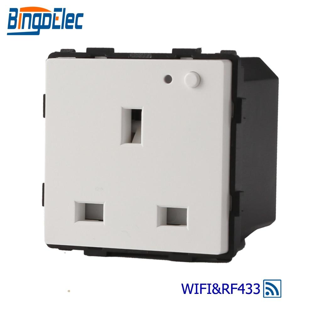 Bingoelec 13A WIFI Socket Part Remote RF 433.92 MHZ UK Standard Wall Socket Wireless Control By Controller And Tuya APP