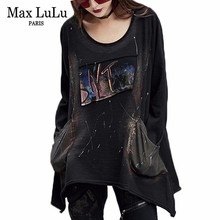 Max Lulu 2019 Cao Cấp Hàn Quốc Bông Tai Kẹp Len Nữ Áo Thun Nữ In Hình Áo VINTAGE Punk Quần Áo Nữ Dài Đen áo Thun Nữ