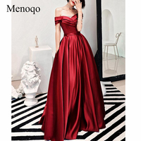 c846dd50a2 Menoqo 2019 Sexy Off Shoulder Long Prom Dresses With Pocket Short Sleeve  Satin Prom Party Dress