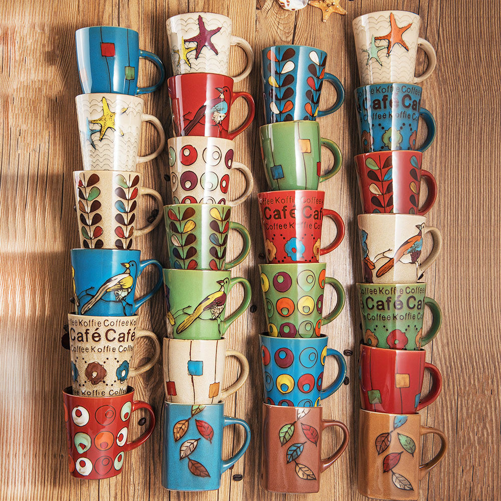 Creative Design Hand Painted Ceramic Mug Cups Retro Cup Coffee Milk Coffee Cup Mugs Drinkware With Spoon Colorful Gift