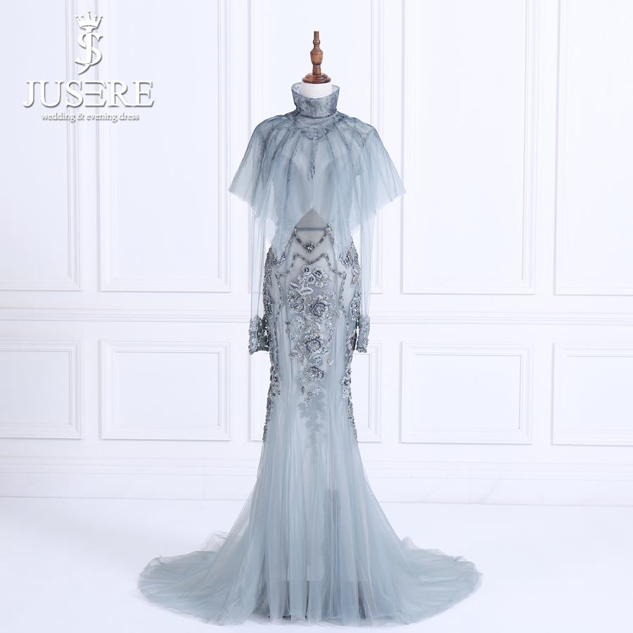 JUSERE Elegant Long Evening Dress With Shawl Lace Appliques Beaded See Through Mermaid Formal Party Dresses 2018 Robe De Soiree