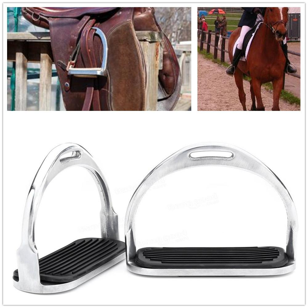 Mounchain 1 Pair 120mm Stainless Steel Horse Riding Stirrup Equestrian Stirrup Anti-slip Pad