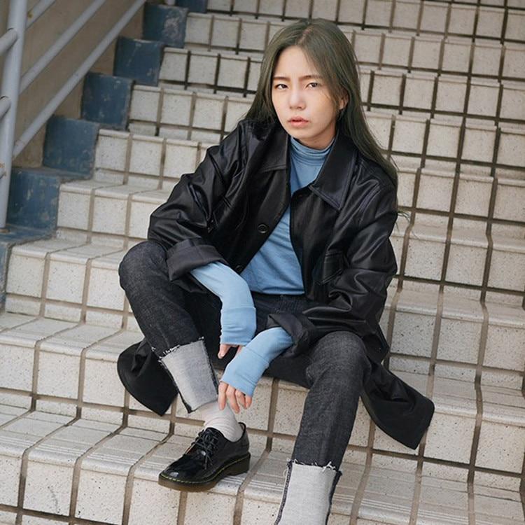Ropa Slim Manga Nuevo 2018 Hebilla Bolsillo Cintura De Cinturones Otoño Invierno Cuero Sola dark Larga Pu Abrigo Chaqueta La Brown Black q4t71wXtn