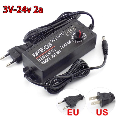 Adjustable AC DC 3V 24V 2A homecare 100-220V Power Supply Power Adapter 2000MA adaptor 48W Charger electric for cctv led lamp Pakistan