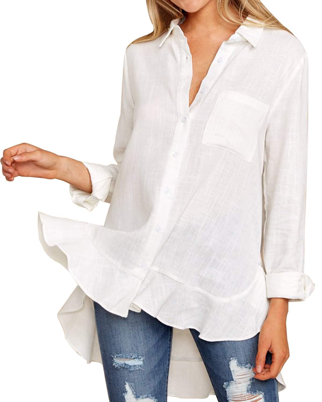 2019 Elegant Ruffles   Blouses     Shirts   Asymmetrical Hem Women Sexy Ladies V Neck Long Sleeve Pockets Solid   Shirts   Tunic Tops Female