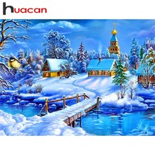 Huacan Diamond Mosaic Sale Landscape Pictures Of Rhinestones Embroidery Winter Painting Cross Stitch Gift