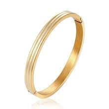 2019 New Women Charm Bracelet Stainless Steel Rose Gold Color Unique Three Sides Round Bracelets & Bangles Wedding Brand Jewelry цена в Москве и Питере