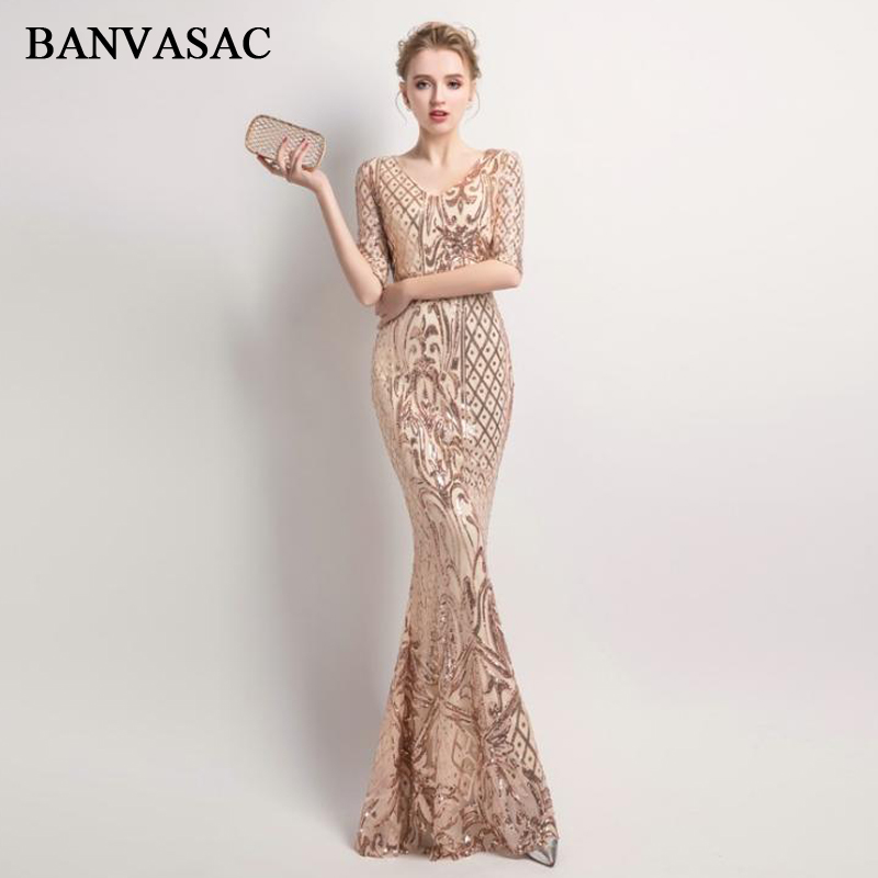 43af00159e86c BANVASAC 2019 V Neck Sequined Mermaid Long Evening Dresses Elegant Party  Half Sleeve Zipper Back Prom Gowns
