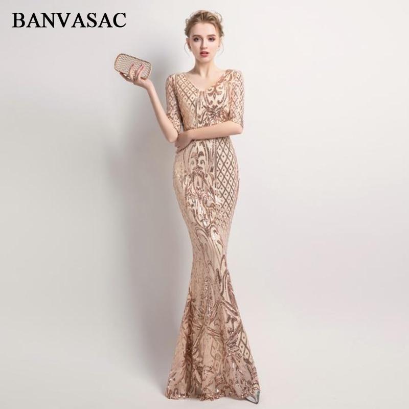 BANVASAC 2019 V Neck Sequined Mermaid Long   Evening     Dresses   Elegant Party Half Sleeve Zipper Back Prom Gowns