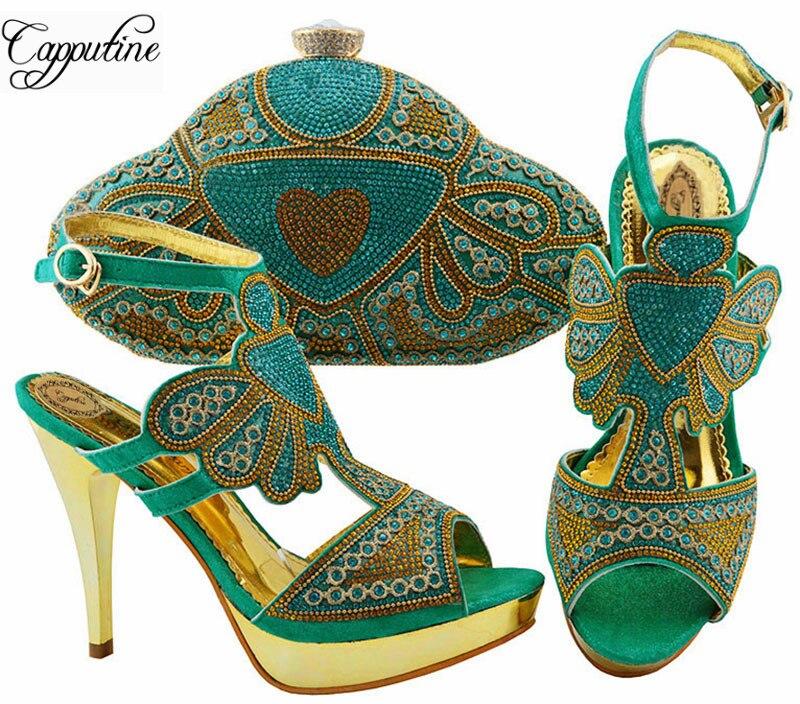 Afrique Desgin femme Aqua couleur chaussures et sac ensemble nouvelle mode chaussures à talons hauts et sac assorti ensemble pour fête de mariage ZC004-in Escarpins femme from Chaussures    1