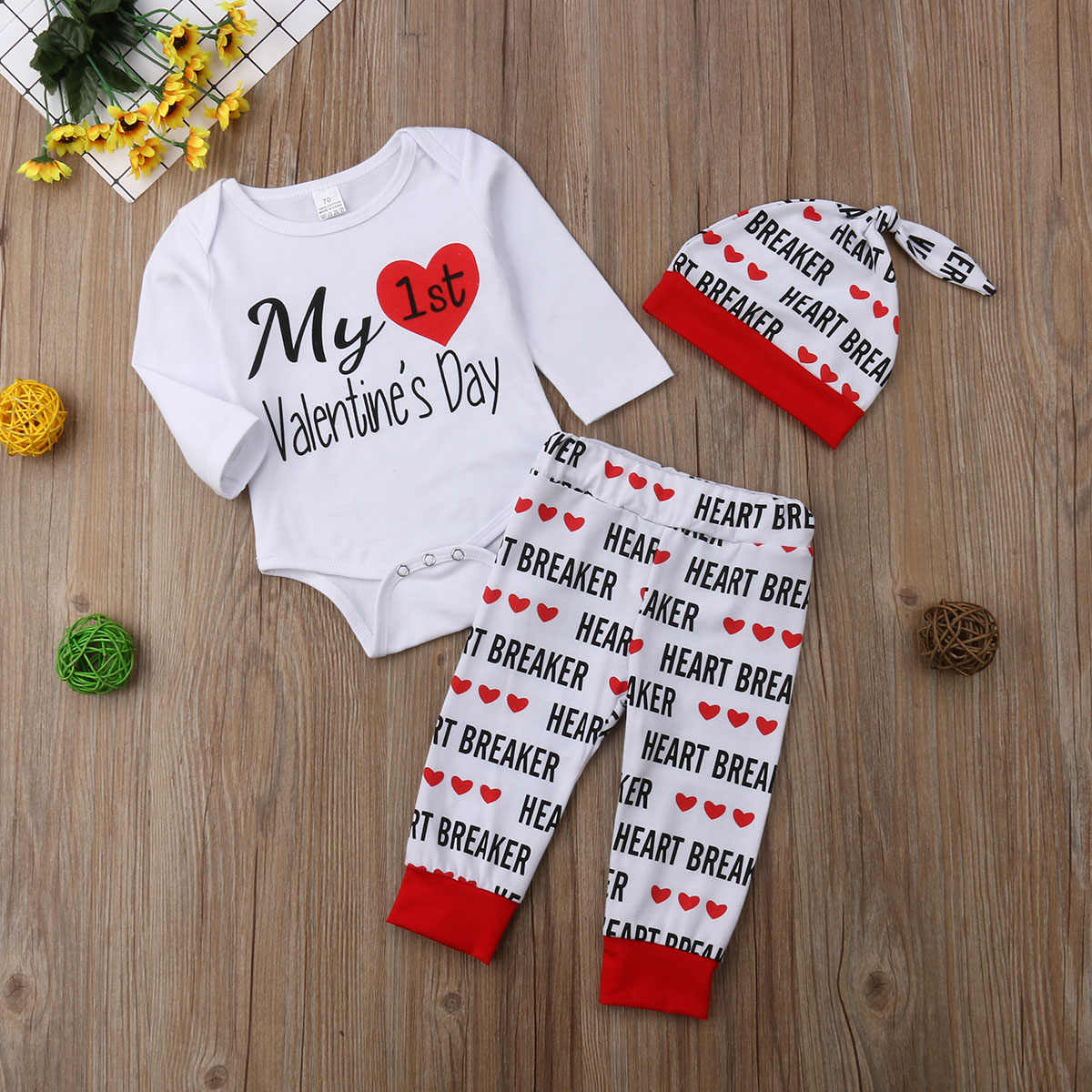 3b1c6359903c Baby Boys Girls Valentine Clothes My First Valentine s Day Letter Print  White Romper Jumpsuit +Pants +Hats Clothes Outfits