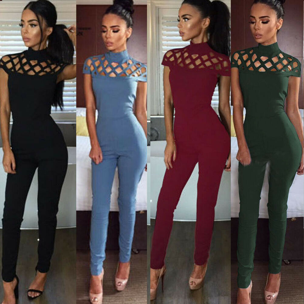 Women Solid O Neck Cross Bandage Hole Jumpsuit Romper Casual Short Sleeve Playsuit Clubwear Trousers Outfit