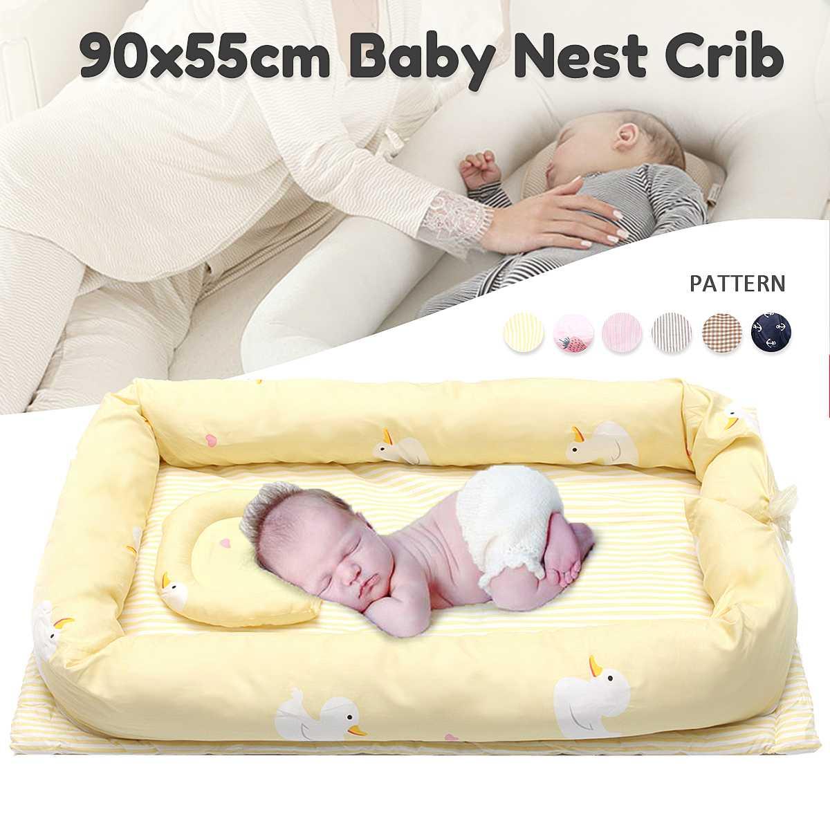 Lit de voyage pliable Portable nouveau-né avec matelas de lit pare-chocs lit de bébé multifonctionnel avec oreiller sac pour bébé 90x55x15 cm