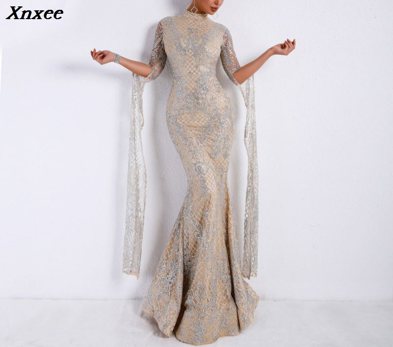 Xnxee Mesh Sequin Bodycon Dress Women Sexy Summer Party Dresses 2018 Turtleneck Flare Sleeve Autumn Long
