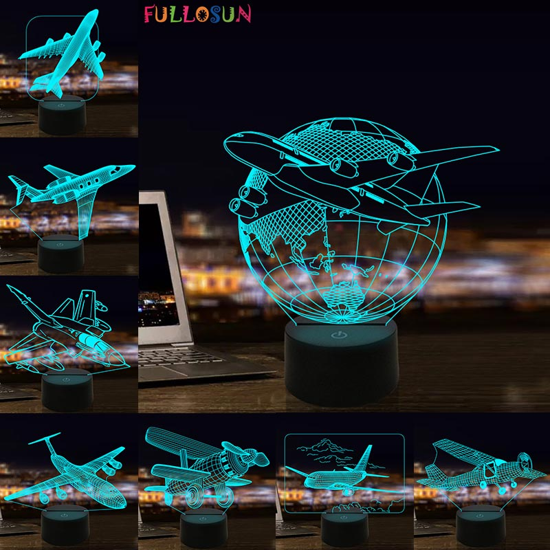 Airplane 3D Visual Lamp LED Illusion Night Light Aircraft Model Toy for Kids
