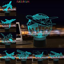 Airplane 3D Visual Lamp LED Illusion Night Light Aircraft Model Toy Night Lamp for Kids led 3d illusion visual lamp dinosaur model night lamp 7 colors touch light bedroom decorative lamps for baby novelty night light