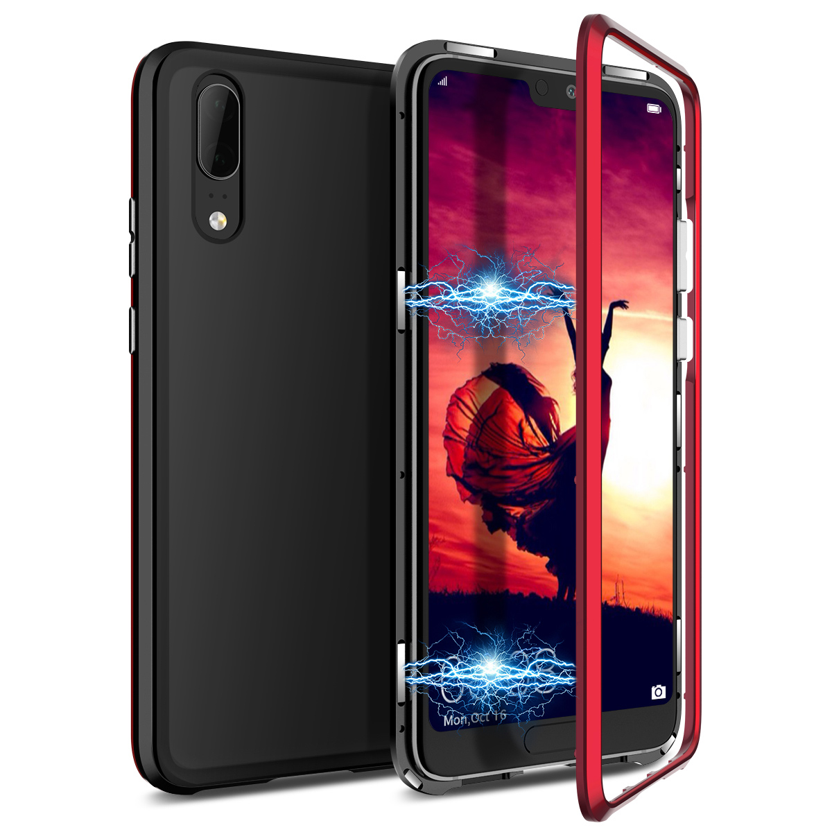 2 in 1 Case For Huawei Nova 3 3i Cover Hard Transparent Back Magnetic Protective Shockproof Cover For Huawei P Smart Case in Fitted Cases from Cellphones Telecommunications