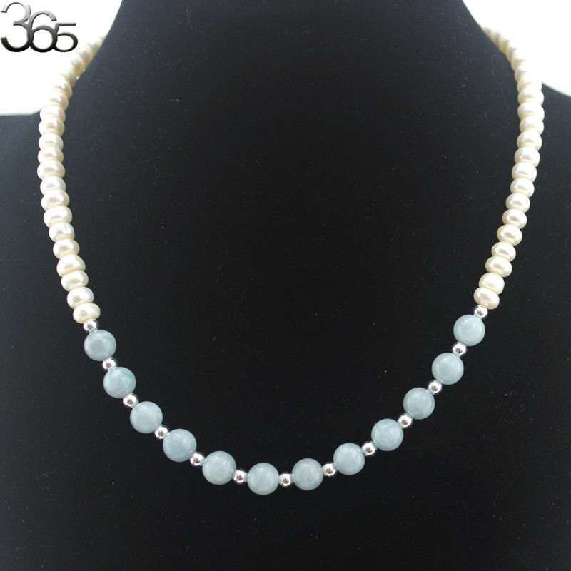 Free Shipping Natural Round Aqua & Rondelle White Pearl 925 Silver Craft Clasp Women Necklace 18inch