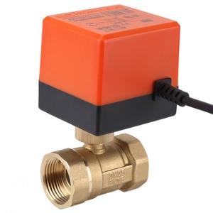 Image 4 - AC 220V DN15 DN25 ボールバルブ真鍮電気電動 2 ウェイ 3 線式ウォーター石油ガスバルブ 1.6Mpa 糸 90 度回転糸