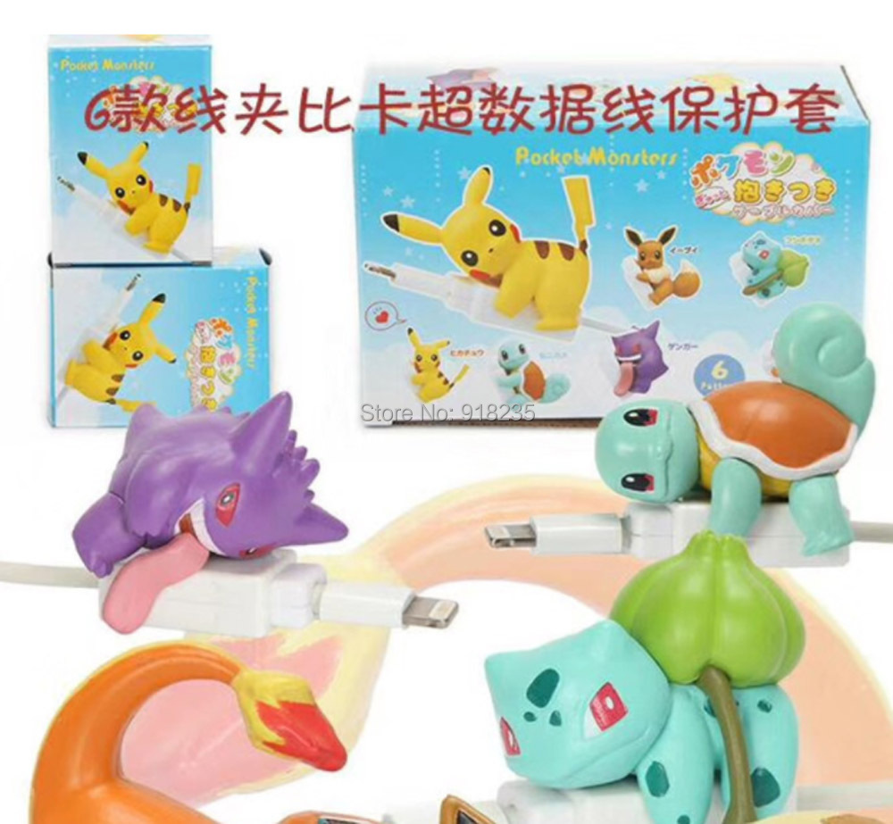 5 Lot 6pcs set Pikchu Eevee Squirtle Bulbasaur Charmander Gengar 6CM Figures Cable Protector For Android