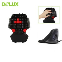 Delux M618 Ergonomic Wired Vertical Mouse Combo 1600 DPI With Single Hand T9 Mini Gaming Keypad For Game Gamer PC Laptop Desktop