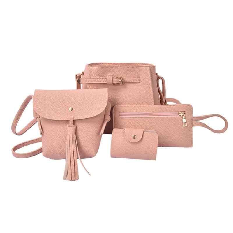 4 pçs/set bolsa de ombro de couro do falso das mulheres bolsa mensageiro bolsa de ombro de couro do plutônio bolsas bolsa de embreagem titular do cartão