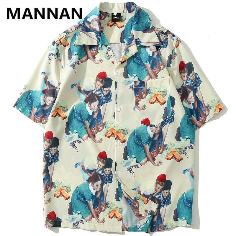 Маньнань винтажная рубашка с принтом летняя модная повседневная Гавайская пляжная Алоха вечерние рубашки уличная Мужская рубашка с коротким рукавом