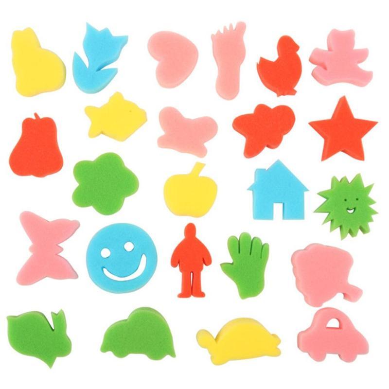 Cartoon 24pcs/bag Animal Painting Sponge Brushes Children Kids Cute Art DIY Graffiti Paint Brush Children Drawing Toy Stationery