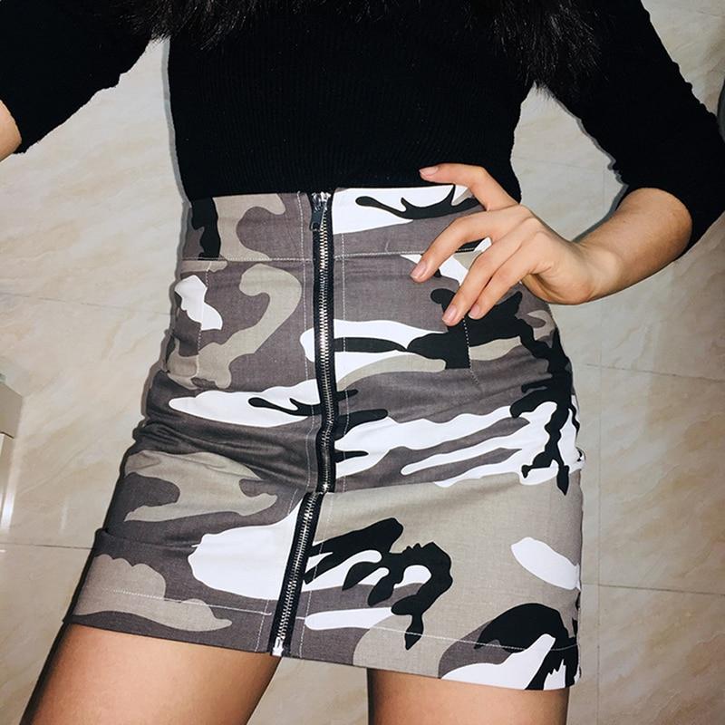 Camouflage Skirts Womens Mini Short A-Line Skirt High Waist Sexy Fashion Gray Camo Bodycon Streetwear Zipper Skirt Harajuku