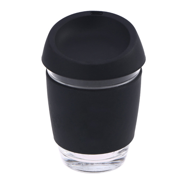 cffa5062aac Glass Coffee Mug Travel Coffee Cup with BPA Free Silicone Lid and Sleeve  (12oz Black)