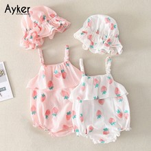 Baby Clothes Twins Girls Bodysuit Newborn Sleeveless Girl Summer Cotton Triangle Climb Cute Pink with Hat