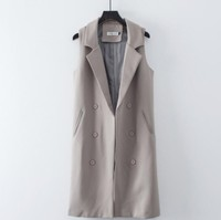 Spring Summer 2019 Women Elegant Long Vest Office Lady Gray Black Long Waistcoat for Working Business Outfits