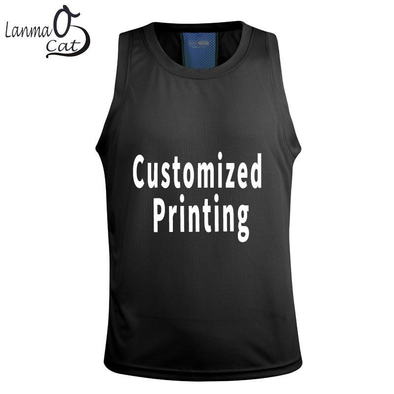 Lanmaocat Men   Tank     Tops   Bodybuilding Fitness Cloth For Men Customized Print Sleeveless Fitness Sport Wear   Tank     Top   Free Shipping