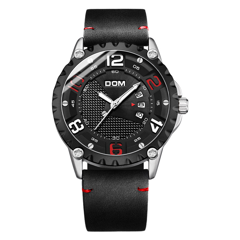 DOM Watch Men's Fashion Sports Quartz Waterproof Luxury Leather Business Watch