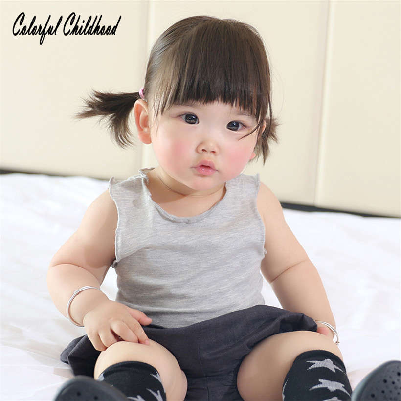Kids Cotton Ruffles Underwear T-Shirt Clothing Sleevess Baby Infant/toddlers SUMMER O-Neck