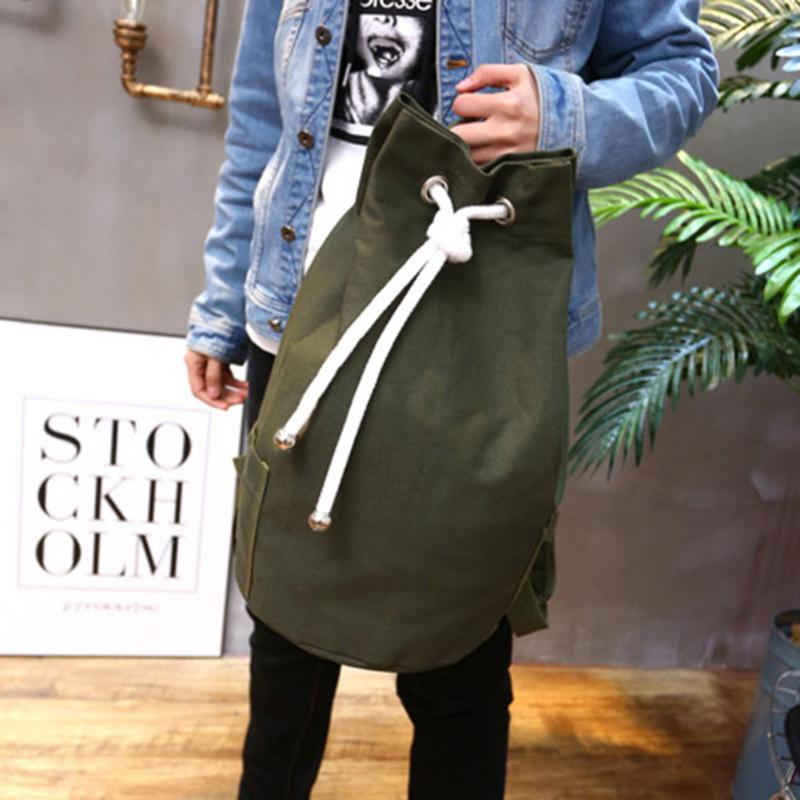 2019 Men Drawstring Backpack Canvas Casual Large Capacity Sport Outdoor Backpack Back Pack Army Green/Black Color Travel Bags