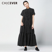 CHICEVER Cupcake Dress Women Stand Collar Short Sleeve Loose Big Size A Line Women's Dresses Elegant Vintage Clothes Fashion New