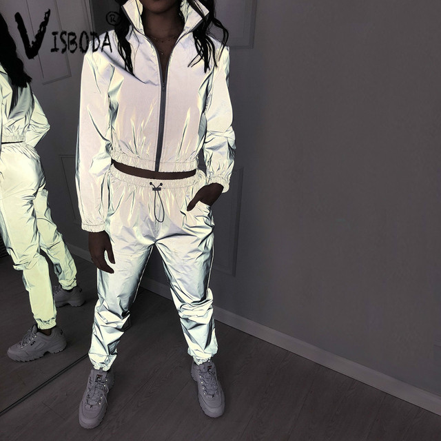 Tracksuit 2 Piece Set Hip Hop Reflective Zipper Jacket Coat Matching Sets 3