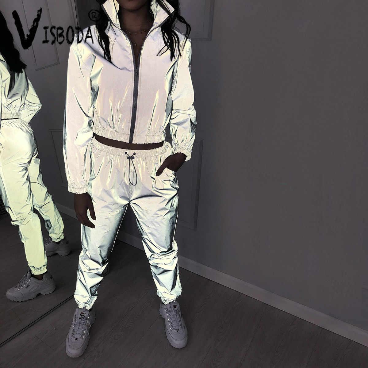 女性トラックスーツ 2 個セットヒップホップ反射クロップトップパンツファッション女性ルースジッパージャケットコートマッチングセットプラスサイズ