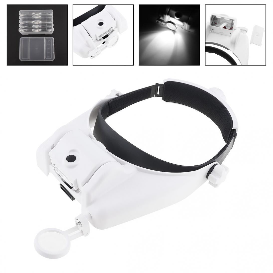 Ajustável Lupa Lupa 1.0X1.5X2.0X2.5X3.5 X Lente Headband Lupa Lupa com 3LED 8 lupa Óculos Criativo