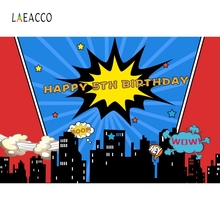 Laeacco Boow Super Hero Baby Birthday Night Party Photography Backgrounds Customized Photographic Backdrop For Photo Studio